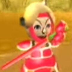 Julie as a rival at Swordplay Showdown.