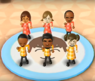 Yoko, Lucia, Eduardo, Theo, Patrick, and Midori featured in Swap Meet in Wii Party