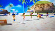 Ursula, Kathrin and Michael participating in Flag Fracas with Hiroshi as the refree in Wii Party