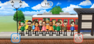 Akira, Hiromi, Fumiko, Tyrone, Helen, Andy, Megan, Midori, Jessie, and Hiromasa featured in Commuter Count in Wii Party