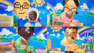 Shohei, Keiko, Sandra and Kentaro participating in Cry Babies in Wii Party