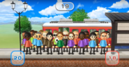 Theo, Sarah, Hayley, Hiromi, Takashi, Chris, Jessie, Misaki, Steve, Yoshi, Martin, Elisa, Fritz, Sandra, Jackie, Rin, Shouta, Barbara, and Pablo featured in Commuter Count in Wii Party
