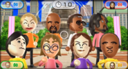Julie, Matt, Miguel, Alex, Takumi, Siobhan, Giovanna, and Eduardo featured in Smile Snap in Wii Party