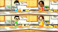 Maria, Shouta, and Helen participating in Chop Chops in Wii Party