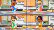 Tommy, Nick, Anna and Maria participating in Chop Chops in Wii Party