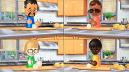 Kentaro, Miguel, Nelly and Sarah participating in Chop Chops in Wii Party
