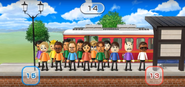 Miyu, Julie, Ryan, Kentaro, Fumiko, Gabriele, Misaki, and Miguel featured in Commuter Count in Wii Party