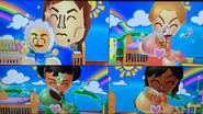 Pierre, Julie, Miyu and Haru participating in Cry Babies in Wii Party