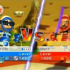 Barolb vs. Matt in Swordplay Duel.
