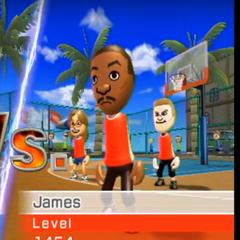 James playing Basketball at High Noon.