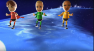 Emily, Fritz, and Eduardo participating in Space Brawl in Wii Party