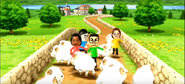 Maria, Shouta, and Helen participating in Ram Jam in Wii Party