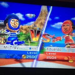 Mii Trey vs Eduardo in Swordplay Duel.