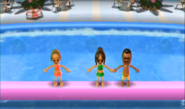 Mia, Chika, and Tommy participating in Splash Bash in Wii Party