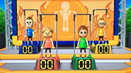 Rainer, Megan, Anna and Nick participating in Chin-Up Champ in Wii Party