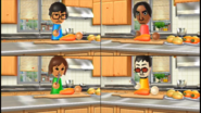 George, Yoko, and Akira participating in Chop Chops in Wii Party