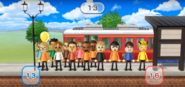 Anna, Nelly, Greg, Abe, Shinta, Siobhan, Andy, Silke, and Marisa featured in Commuter Count in Wii Party