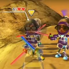 Gwen (right) wearing Purple Armor in Swordplay Showdown.