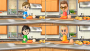 Cole, Misaki, and Fritz participating in Chop Chops in Wii Party