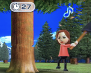 Elisa participating in Timber Topple in Wii Party