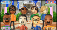 Ai, Gwen, Luca, Eddy, Hiroshi, Pablo, Shohei, and Andy featured in Smile Snap in Wii Party