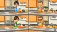 Oscar, Hiromi, and Cole participating in Chop Chops in Wii Party