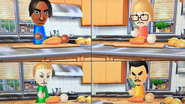George, Nelly, Jessie and Saburo participating in Chop Chops in Wii Party