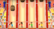Maria, Shouta, and Helen participating in Barrel Daredevil in Wii Party