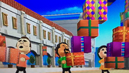 Rainer, Kentaro and Rin participating in Shifty Gifts in Wii Party