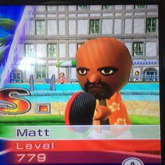 Matt about to play a Table Tennis match.