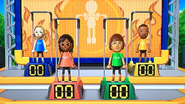 Rachel, Haru, Mike and James participating in Chin-Up Champ in Wii Party