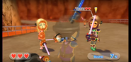 Yoshi (right) wearing Purple Armor in Swordplay Showdown