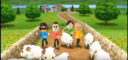 Rainer, Takumi, and Holly participating in Ram Jam in Wii Party