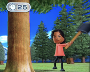 Maria participating in Timber Topple in Wii Party