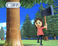 Fumiko participating in Timber Topple in Wii Party