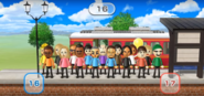 Gabi, Rachel, Jake, Tommy, Rin, Takashi, Daisuke, Misaki, Tatsuaki, Yoko, and Silke featured in Commuter Count in Wii Party