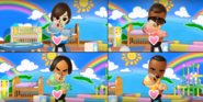Miguel, Tatsuaki, and Andy participating in Cry Babies in Wii Party