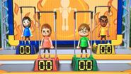 Misaki, Anna, Chris and Sota participating in Chin-Up Champ in Wii Party