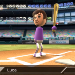 Luca in Baseball (batter) with Tatsuaki (pitcher).