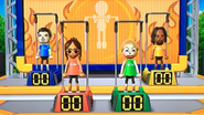 Pablo, Chika, Julie and Alex participating in Chin-Up Champ in Wii Party