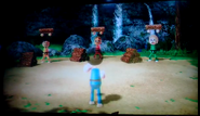 Shinnosuke, Greg, and Silke participating In Lumber Whacks in Wii Party