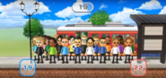 Ryan, Silke, Patrick, Luca, Maria, Alisha, Eva, Barbara, Takumi, Saburo, Tyrone, Keiko, Abby, Shohei, Andy, Greg, Jackie, Naomi, and Marco featured in Commuter Count in Wii Party