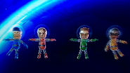 Abe, Cole and Ai partcipating in Moon Landing in Wii Party