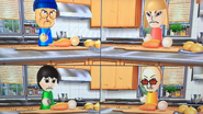 Gabi, Rin and Martin participating in Chop Chops in Wii Party