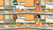 Jake, Eduardo, and Eva participating in Chop Chops in Wii Party