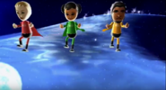 Jessie, Miyu, and Patrick participating in Space Brawl in Wii Party