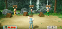 Ryan, Misaki, and Ursula participating in Lumber Whacks in Wii Party