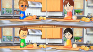 Greg, Emily, Oscar and Misaki participating in Chop Chops in Wii Party