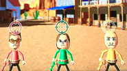 Cole, Ursula and Fritz participating in Popgun Posse in Wii Party