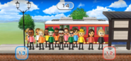Tommy, Greg, Julie, David, Akira, Helen, Vincenzo, Hiromi, Fumiko, and Silke featured in Commuter Count in Wii Party